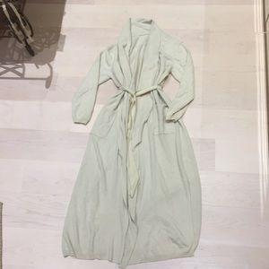 100% cashmere shawl collar long robe new